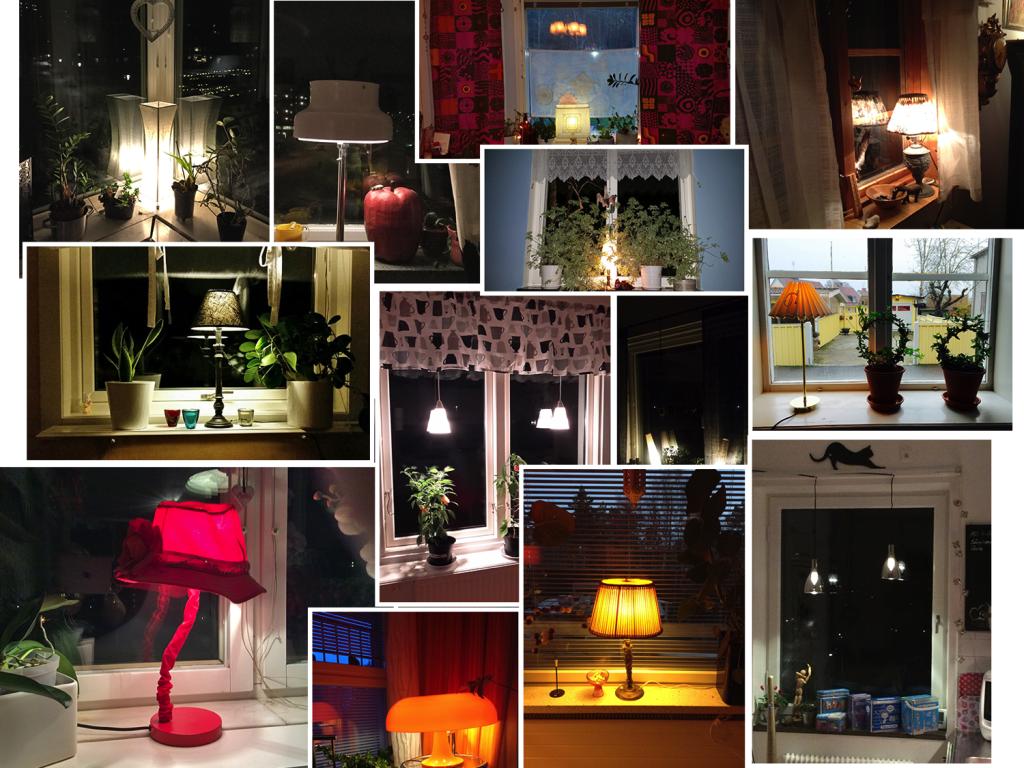 Insamling av fotografier med fönsterlampor, november 2015.